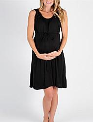お買い得  -女性用 ベーシック シフト ドレス - パッチワーク, ソリッド 膝丈