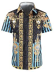 baratos -Homens Camisa Social Estampado, Geométrica Azul XL