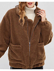 billiga -Dam Dagligen / Utekväll Höst vinter Normal Faux Fur Coat, Enfärgad Rullad krage Långärmad Bomull Grå / Vin / Khaki grön M / L / XL