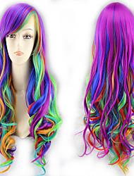 halpa -Synteettiset peruukit Kihara Tyyli Keskiosa Suojuksettomat Peruukki Ombre Sateenkaari Synteettiset hiukset 22 inch Naisten Party Ombre Peruukki Pitkä Luonnollinen peruukki