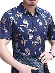 Недорогие -Муж. С принтом Большие размеры - Рубашка Хлопок Тонкие Цветочный принт Черный
