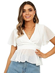 cheap -Women's Blouse - Solid Colored White M