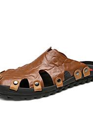 tanie -Męskie Skórzane buty Skóra nappa Lato Klapki i japonki Oddychający Ciemnoniebieski / Jasnobrązowy / Ciemnobrązowy
