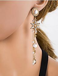 cheap -Women's Multicolor Cubic Zirconia Chandelier Drop Earrings Pearl Silver Earrings European Jewelry Gold For Daily 1 Pair