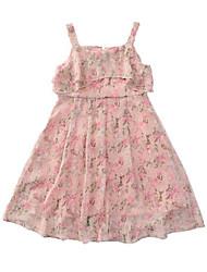 abordables -Niños Chica Estilo lindo / Boho Floral Estampado Sin Mangas Poliéster Vestido Rosa