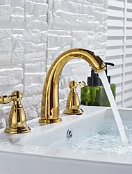Недорогие -Ванная раковина кран - Широко распространенный Хром / Начищенная бронза / Матовый никель Разбросанная Две ручки три отверстияBath Taps