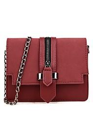 رخيصةأون -نسائي أكياس PU حقيبة كروس لون الصلبة أسود / أحمر