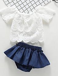 Недорогие -малыш Девочки Классический Однотонный С короткими рукавами Обычный Полиэстер Набор одежды Белый
