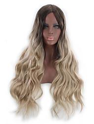 halpa -Synteettiset peruukit Kinky Straight Tyyli Keskiosa Suojuksettomat Peruukki Vaaleahiuksisuus Vaalea kulta Synteettiset hiukset 26 inch Naisten Color Gradient Vaaleahiuksisuus Peruukki Pitkä