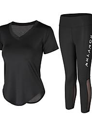 voordelige -Dames Yoga pak Wit Zwart Sport Modieus Sportoutfits Yoga Gym training Korte mouw Sportkleding Ademend Sneldrogend Zweetafvoerend Power Flex Hoge Elasticiteit
