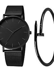 Недорогие -Муж. Нарядные часы Кварцевый Нержавеющая сталь Черный / Серебристый металл / Розовое золото 30 m Защита от влаги Творчество Крупный циферблат Аналоговый На каждый день Мода -
