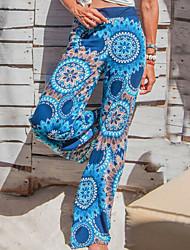 Χαμηλού Κόστους -Γυναικεία Βασικό Πλατύ Πόδι Παντελόνι - Φλοράλ Θαλασσί