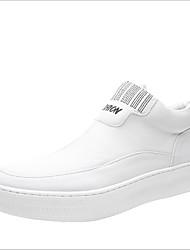 رخيصةأون -رجالي أحذية الراحة جلد للربيع والصيف المتسكعون وزلة الإضافات أبيض