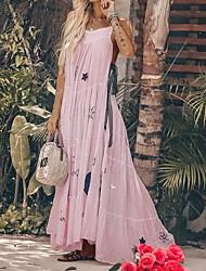 Недорогие -Жен. Тонкие С летящей юбкой Рубашка Платье Оборки На бретелях Макси Пыльная роза