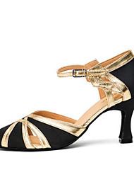 olcso -Női Modern cipők PU Magassarkúk Kúpsarok Dance Shoes Bíbor / Fekete és arany / Fekete / Kék