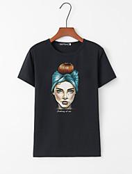 billige -T-skjorte Dame - Portrett, Trykt mønster Hvit M