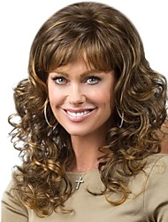 cheap -Synthetic Wig / Bangs Curly / Spiral Curl Style Free Part Capless Wig Golden Blonde / Purple Synthetic Hair 28 inch Women's Fashionable Design / Classic / Women Golden Wig Long Natural Wigs