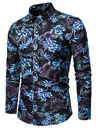 billige -Herre - Blomstret Trykt mønster Skjorte Blå XXXL