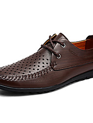 cheap -Men's Leather Shoes Nappa Leather Spring / Fall Classic / Casual Oxfords Non-slipping Black / Brown