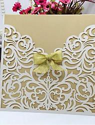 billige -Flat Kort Bryllupsinvitasjoner Invitasjonskort Kunstnerisk Stil Perle-papir 6*6 tommer (ca. 15*15cm) Bånd