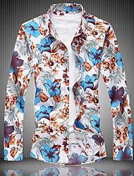 cheap -Men's Shirt - Floral Blue XXXXL