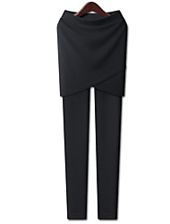 baratos -Mulheres Esportivo / Básico Chinos / Calças Esportivas Calças - Sólido Preto