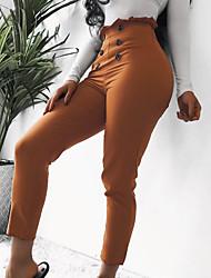 Недорогие -Жен. Уличный стиль Тонкие Чино Брюки - Однотонный Завышенная Коричневый Черный M L XL