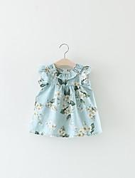 hesapli -Bebek Genç Kız Temel Desen Desen Kolsuz Diz üstü Pamuklu / Polyester Elbise Beyaz