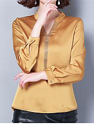 levne -Dámské - Jednobarevné Halenka, Třásně Žlutá XL