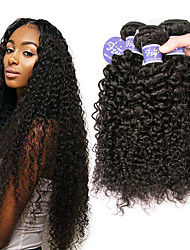 cheap -3 Bundles Brazilian Hair Curly Kinky Curly Virgin Human Hair Headpiece Natural Color Hair Weaves / Hair Bulk Bundle Hair 8-28 inch Natural Color Human Hair Weaves Extender Natural Best Quality Human