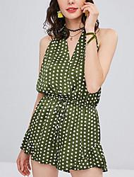 baratos -Mulheres Moda de Rua Verde Laranja Macacão, Poá M L XL
