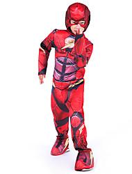 preiswerte -Superheld Cosplay Kostüme Umhang Kinder Jungen Cosplay Halloween Halloween Karneval Maskerade Fest / Feiertage Baumwolle Rote Karneval Kostüme Patchwork Print