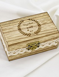 cheap -Personalized Ring Boxes Wood Necklace Cuboid Engraved