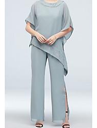 رخيصةأون -قطعتين / Pantsuit جوهرة طول الأرض شيفون فستان أم العروس مع تفاصيل كريستال بواسطة LAN TING BRIDE®