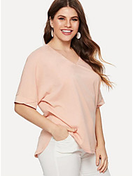 voordelige -Dames T-shirt Effen Blozend Roze XXL