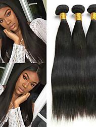 Недорогие -3 Связки Бразильские волосы Прямой Не подвергавшиеся окрашиванию Человека ткет Волосы Пучок волос One Pack Solution 8-28 дюймовый Естественный цвет Ткет человеческих волос