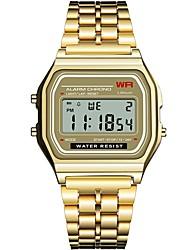 Недорогие -Жен. электронные часы Квадратные часы Блестящие Мода Черный Серебристый металл Золотистый Нержавеющая сталь силиконовый Китайский Цифровой Черный Серебряный Черный+Белый / Один год / Секундомер