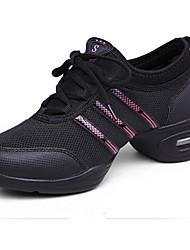 olcso -Női Jazz cipők Háló Sportcipő Vastag sarok Dance Shoes Fekete és arany / Fekete / Vörös