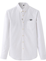 お買い得  -男性用 シャツ ソリッド ホワイト XL
