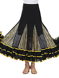 cheap -Ballroom Dance Bottoms Women's Training / Performance Mesh / Tulle Sashes / Ribbons / Split Joint / Gore Natural Skirts