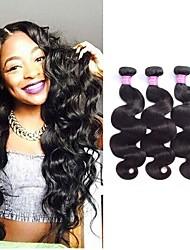 זול -3 חבילות שיער ברזיאלי Body Wave שיער ראמי טווה שיער אדם הארכה שיער Bundle 8-28 אִינְטשׁ צבע טבעי שוזרת שיער אנושי יָלוּד חיים בטיחות תוספות שיער אדם בגדי ריקוד נשים