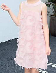 お買い得  -子供 女の子 ベーシック / 甘い パッチワーク 多層式 ノースリーブ コットン / スパンデックス ドレス ホワイト