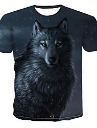 billiga -Tryck, Färgblock / 3D / Djur T-shirt Herr Mörkgrå XXXXL