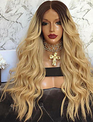 cheap -Synthetic Wig Deep Wave Style Middle Part Capless Wig Blonde Light golden Synthetic Hair 28 inch Women's Color Gradient Blonde Wig Long Natural Wigs