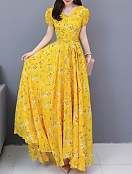 저렴한 -여자 맥시 스윙 드레스 v 목 라이트 블루 블러싱 핑크 옐로우 스 미 퀼트 xl