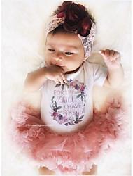 hesapli -Bebek Genç Kız Actif / Temel Desen Örümcek Ağı / Desen Kısa Kollu Normal Normal Pamuklu Kıyafet Seti Gökküşağı