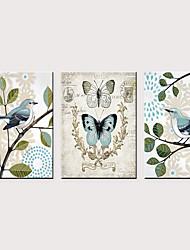 tanie -Nadruk Zwijane wydruki na płótnie - Zwierzęta Kwiatowy / Roślinny Klasyczny Trzy panele