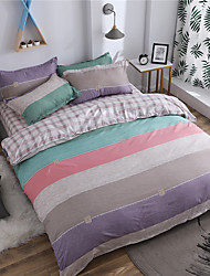 cheap -Duvet Cover Sets Stripes / Ripples / Contemporary Polyster Printed 4 PieceBedding Sets