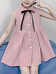 お買い得  -子供 女の子 かわいいスタイル ストリートファッション パッチワーク パッチワーク ノースリーブ レーヨン ドレス ピンク