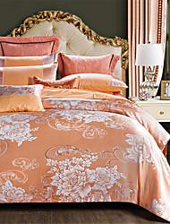 olcso -Paplan Cover állítja Egyszínű / Luxus Pamut Jacqard 4 darabBedding Sets